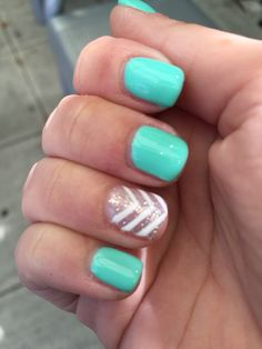 Aqua Chevron Nails <3