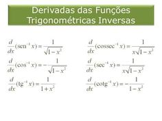 Resultado de imagen para derivadas trigonometricas inversas