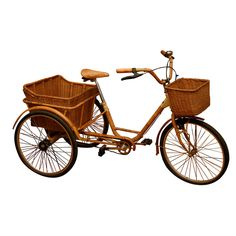 THIS IS THE BIKE OF MY DREAMS!!! Vintage Bike / USA / c. 1950 /   Three weel bike with rattan baskets and bamboo wheel guards