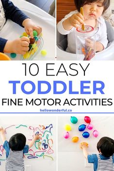 These easy baby toddler fine motor skills activities are simple and fun to set up and will get your kids practicing their sensory skills as well. Toddler Fine Motor Activities, Motor Skills Activities, Indoor Activities For Kids, Infant Activities, Toddler Preschool, Fine Motor Skills, Preschool Activities, Toddler Play, Teaching Kids