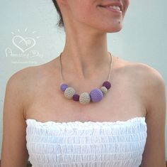 Purple Linen Nursing Necklace Modern Crochet Eco by AmazingDay, $22.00