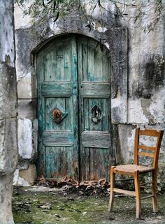 Crete, culture, door, curved, decay, rustic, green, chair, beauty, beautiful, architechture, photograph, photo