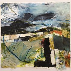 Lewis Noble 'Mam Tor' Acrylic and collage.  Twitter.