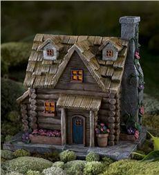 Fairy Garden Solar Log Cabin