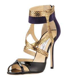 Freesia Mixed-Media High-Heel Sandal, Blue by Jimmy Choo at Bergdorf Goodman.