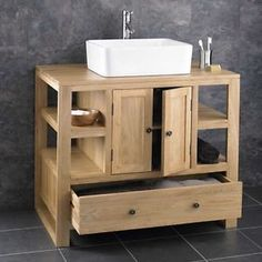 90cm x 55cm Solid Oak Two Door Bathroom Basin Cabinet Vanity Sink Basin Unit | eBay