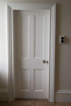 Architrave and door detail - Victorian. Note light switches and door furniture. Victorian Internal Doors, Georgian Doors, Carpentry And Joinery, Door Detail, White Doors, White Internal Doors, Black Door, Internal Door Handles, Internal Door Frames