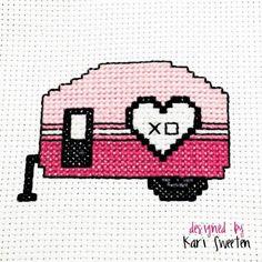 Free Cross Stitch Pattern - Love Camper