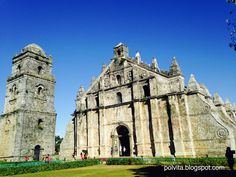 The Paoay Church - one of the UNESCO world heritage sites. Completed in the church is famous for its distinct architecture highlighted by the enormous buttresses on the sides and back of the building. Vigan Philippines, Philippines Travel, Ilocos, Famous Buildings, Travel Abroad, World Heritage Sites, Adventure Travel, Travel Photos, Places To Visit