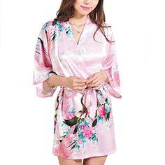 FAYBOX Bridesmaid Peacock Short Kimono Robe Wedding Satin Silk Sleepwear Pink M