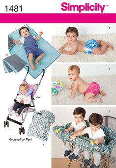 Get everything you need to make your baby a happy baby. Pattern includes diaper covers, neck roll, stroller cover, blanket, car seat tent, and twin shopping cart cover. DIY with Simplicity sewiing pattern 1481.