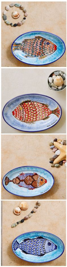 Ceramic Platters HAND PAINTED by Yiota, a Greek Island traditional artisan!  These oval ceramic platters are the perfect Coastal Serverware for Greek Island tablescapes. DECOR TIP: Just mix 2-3 different patterns to serve your delicious food. Everybody will be impressed and talking about your unique style!