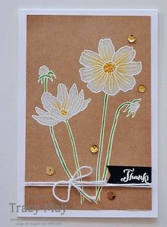 handmade card by Tracy May Independent UK Demonstrator .. kraft ... white embossing with whitewash fill and a tiny tinge of color ... gorgeous!