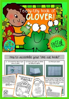 ~FREE PRINTABLE~ Celebrate St Patrick's day this year by going on a clover hunt!  Your class will love folding and assembling this teeny-tiny-one-cut booklet that's filled with facts about shamrocks and clover.... (You probably know that 4 leaf clovers are quite rare, but did you know that the world record for the most leaflets on a clover is 56?!!) After assembling and illustrating your pages, head outside to find a clover leaflet to complete your booklet.
