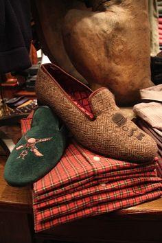 Rugby tweed slippers