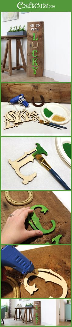 LUCKY Reclaimed Wood Horseshoe Sign | St. Patrick's Day Sign | Lucky Horseshoe Sign | CraftCuts.com