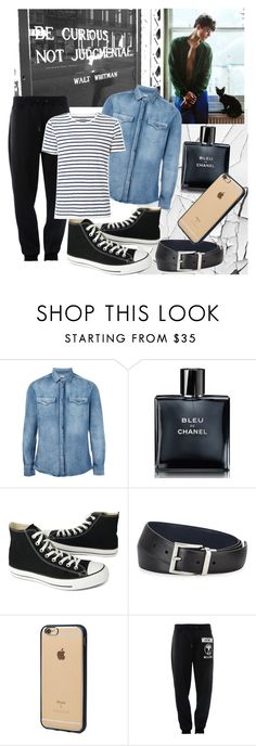 """""""Stripes and denim"""" by peachydivine ❤ liked on Polyvore featuring Brunello Cucinelli, Chanel, Converse, Prada, Incase, Moschino, Witchery, men's fashion and menswear"""
