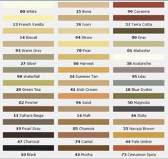 Some good grout colors to think about #LGLimitlessDesign #Contest Mapei Grout Color Chart - © Mapei Corporation