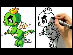 """""""How to draw a dragon"""" in 2 min! Mei Yu shows you """"how to draw a cartoon dragon"""" """"step by step"""" in this """"easy drawing tutorial"""". More """"how to draw dragons"""" & """"how to draw chibis"""" here: http://www.youtube.com/fun2draw    *** Watch these AWESOME Fun2draw playlists ***    How to Draw Dragons!  http://www.youtube.com/playlist?list=PL6D61D9B57C775F96    How..."""