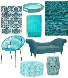 Turquoise decor! I want it all!