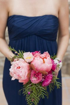 Style Me Pretty bridemaid dress with flowers! Love the color combo