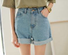 New Spring Summer Women Denim Shorts Korean Style High Waist Roll Up Loose Jeans Shorts Casual Hot Shorts shorts shorts outfits Loose Jeans, Lässigen Jeans, High Jeans, Short Jeans, Hot Shorts, Denim Shorts, Baggy Shorts, Chino Shorts, Summer Shorts