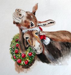 Christmas Donkeys Art Print by Carole Powell. All prints are professionally printed, packaged, and shipped within 3 - 4 business days. Choose from multiple sizes and hundreds of frame and mat options. Christmas Drawing, Christmas Paintings, Christmas Art, Christmas Signs, Vintage Christmas, Christmas Donkey, Christmas Animals, Farm Animals, Cute Animals