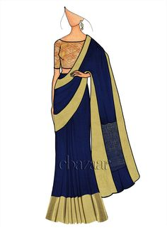 Navy Blue Chiffon Saree N Beige Blouse Dress Design Drawing, Dress Design Sketches, Fashion Design Sketchbook, Fashion Design Drawings, Fashion Sketches, Fashion Illustration Poses, Dress Illustration, Fashion Illustrations, Fashion Figure Drawing