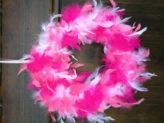 Breast Cancer Survivor party Pink Boa wreath. Turned out pretty well and easy.