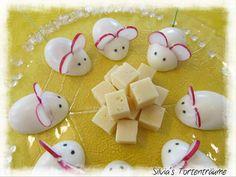 Silvia's Tortenträume:  Mäuse Deko Eier Eier-Mäuse Büfett Käse herzhaft einfach Foodtipp