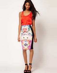ASOS Pencil Skirt In Photographic Floral Print