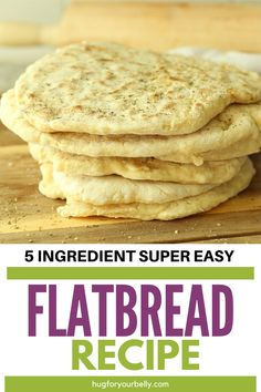 So easy to make, with only 5 basic ingredients that are found in nearly every pantry on a daily basis. You'll love this easy flatbread and all the ways you can use it! Real Food Recipes, Cooking Recipes, Pastry Recipes, Easy Flatbread Recipes, Fried Bread Recipe, Good Food, Yummy Food, Healthy Food, Pantry