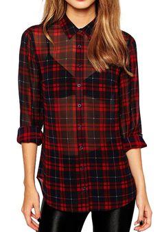 Red Plaid Print V-neck Turndown Collar Fashion Blouse