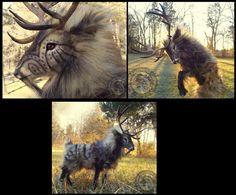 -SOLD-Hand Made Poseable Fantasy Prehistoric Stag! by Wood-Splitter-Lee.deviantart.com on @deviantART