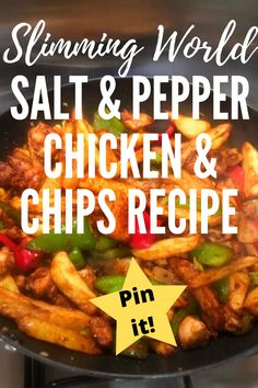 A Slimming World salt and pepper chicken and chips recipe, which can be made with breast or thigh meat. It's healthy, crispy, and easy to make! Perfect for when you want a homemade Chinese fakeaway recipe. Slimming World Pasta Bake, Slimming World Chicken Recipes, Chicken Lunch Recipes, Chinese Fakeaway, Sandwich Fillers, Chicken And Chips, Prawn Dishes, New Recipes, Favorite Recipes