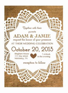 write the table names inside each doily...doilies pinned like the floor plan of the tables
