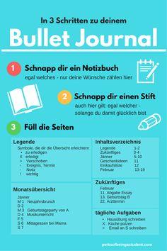 für alle deutschsprachigen Pinner - in 3 Schritten zu deinem eigenen Bullet Journal; vielleicht hilft euch diese Infografik ja =)