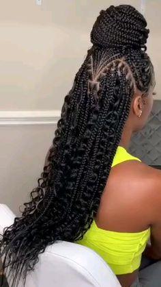 Cute Box Braids Hairstyles, Braided Cornrow Hairstyles, Box Braids Hairstyles For Black Women, Hair Ponytail Styles, Braids Hairstyles Pictures, Dope Hairstyles, Black Girl Braids, African Braids Hairstyles, Braids For Black Hair