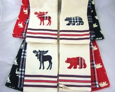 CHOICE: Bear or Moose  Red or Black  Kitchen Towel Sets Cabin Décor FREE SHIP #Madison
