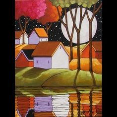 12x16 Spring Moon Original Modern Folk Art Landscape Abstract Painting Horvath | eBay