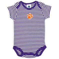 #Clemson #Tigers Infant Striped #Onesie - Purple