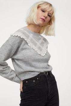 Pullover mit Spitze - Hellgraumeliert - Ladies | H&M DE