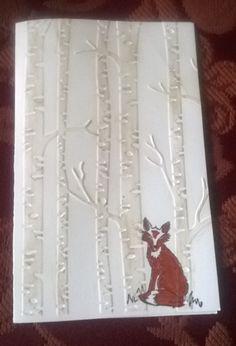 Mit Liebe gemacht von Petra Heinrich. Geburtstagskarte mit Fuchs/Birthday card with Fox. Mit dem Embossing Folder Woodland von Stampin up.