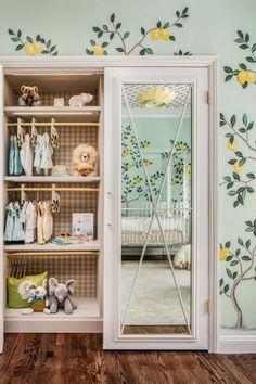 "How can I get more space in the nursery closet?"" We'll give you some smart small nursery closet ideas which will maximize closet space. Nursery Mirror, Nursery Room, Nursery Decor, Project Nursery, Bedroom Decor, Nursery Ideas, Nursery Murals, Fairy Nursery, Whimsical Nursery"