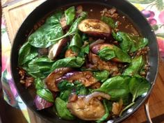 #Vegetarian Adobong Kangkong and Talong : Spinach-Eggplant  Vinegar Saute on http://asianinamericamag.com