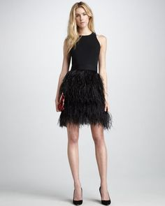 Sasha Feather-Skirt Dress by Milly at Neiman Marcus.