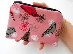 Birds on Pink Coin Purse Little Padded ECO Friendly  Zipper Pouch by JPATPURSES, $8.00