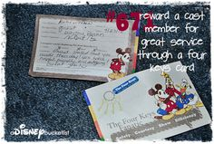 did you know that any disney resort guest can thank a cast member for exceptional service just by requesting that a'Four Keys Card' be made out to them? ask how at any park's guest services location or a resort's front desk - just be sure to remember the cast member's name and location/role to be sure the kind words can find their way to the correct person!