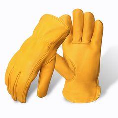 Evridwear Premium Grade Deerskin Full Grain Unlined Leather Gloves, Soft Buckskin Gloves with Open Cuff for Working Driving Gardening, or Industrial 1 Pair, 4 Sizes (XL, Yellow Deerskin) Deerskin Gloves, Leather Work Gloves, Safety Gloves, Deer Skin, Yellow Leather, Leather Craft, Grains, Menswear, Fashion Tips