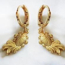 Gold plated fish shape huggie dangling earrings